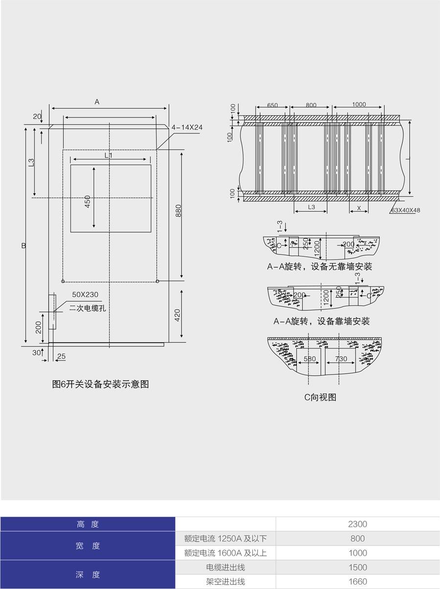 KYN28A-12鎧裝移開式封閉開關設備高寬深常用尺寸
