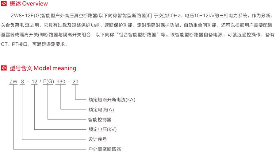 ZW8-12F(G)智能型戶外高壓真空斷路器型號含義