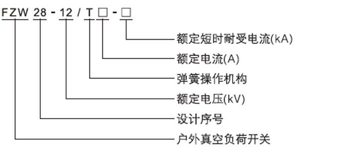 FZW28-12系列户外界真空负荷开关产品型号及含义