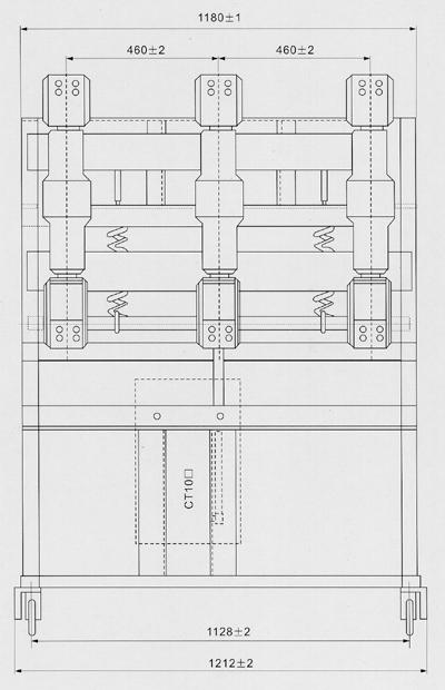 ZN23-40.5KV系列真空断路器外形及安装尺寸