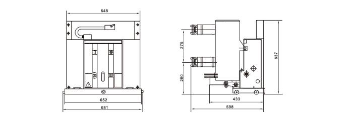 VS1-12永磁户内固封高压真空断路器外形及安装尺寸