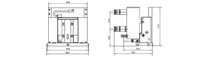 VS1-24户内高压真空断路器外形及安装尺寸