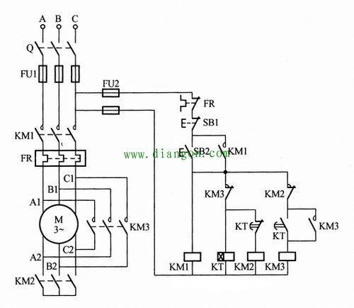星三角時間繼電器降壓啟動控制電路圖2.jpg