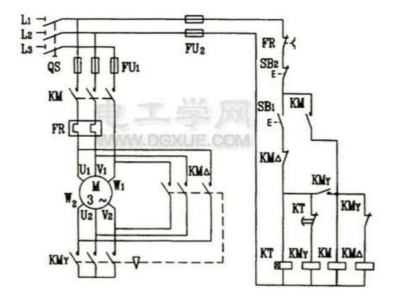 時間繼電器自動控制星三角降壓啟動電路圖.jpg