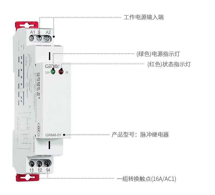 格亚脉冲监控继电器功能件:工作电源输入端,(绿色)电源指示灯,(红色)状态指示灯,产品型号:脉冲继电器,一组转换触点(10A/AC1)