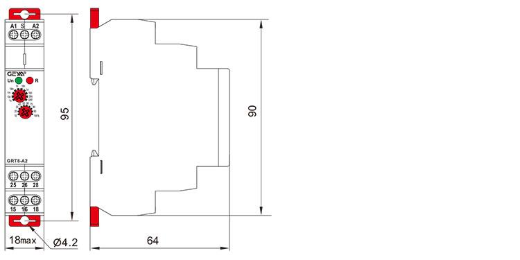 单功能型时间继电器外形安装及尺寸
