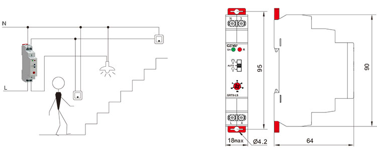 樓道開關的外形安裝及尺寸