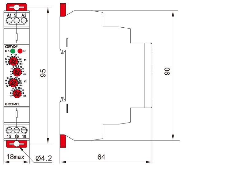循環延時型時間繼電器外形安裝及尺寸