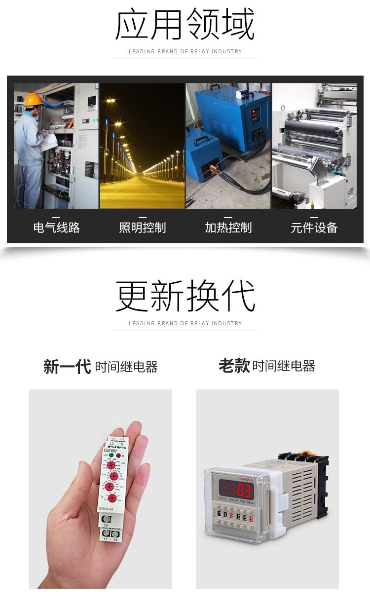 GRT8-S循環延時型時間繼電器應用領域:電氣線路,照明控制,加熱控制,元件設備;更新換代:新老繼電器產品圖對比;