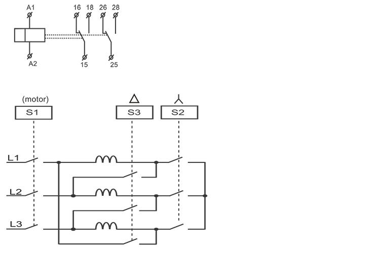 星三角启动型时间继电器接线图