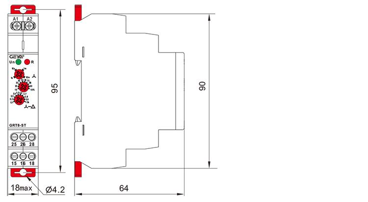 星三角启动型时间继电器外形安装及尺寸