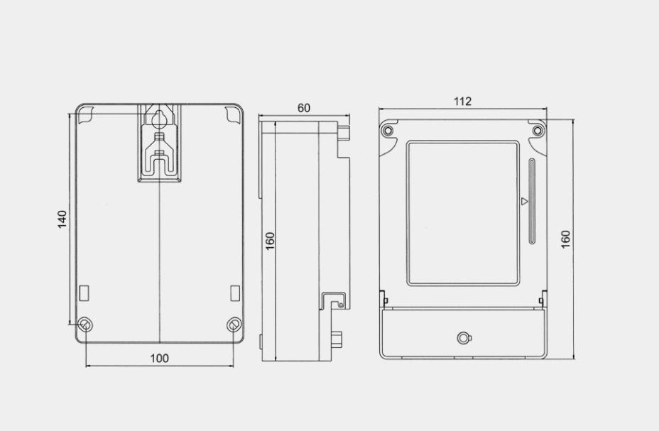 DDSY2057係列單相電子式預付費電能表外形及安裝尺寸