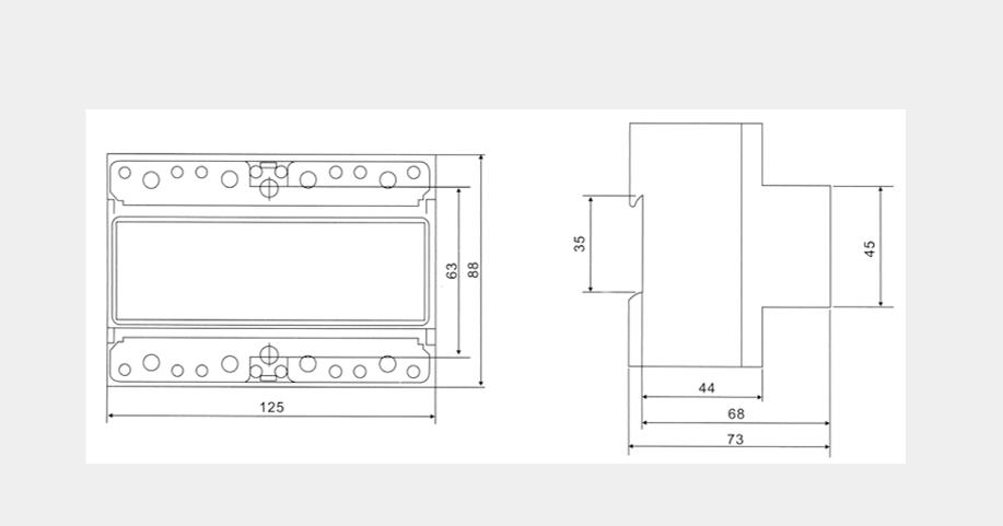 DSSFU2057、DTSFU2057三相電子式多費率導軌電能表外形及安裝尺寸