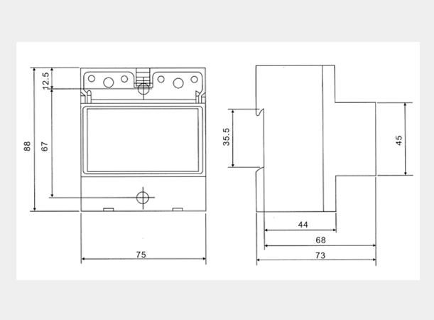 DDSU2057導軌式單相電能表外形及安裝尺寸