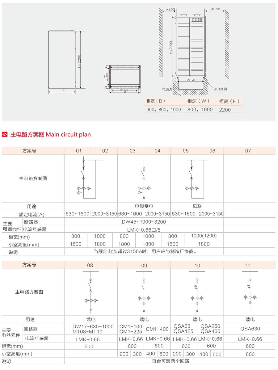低压抽出式开关柜的主电路方案图