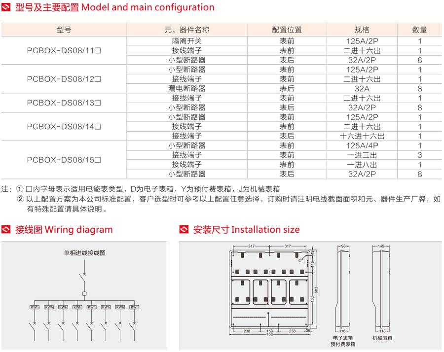 单相八表位电表箱的型号及主要配置,接线图,安装尺寸