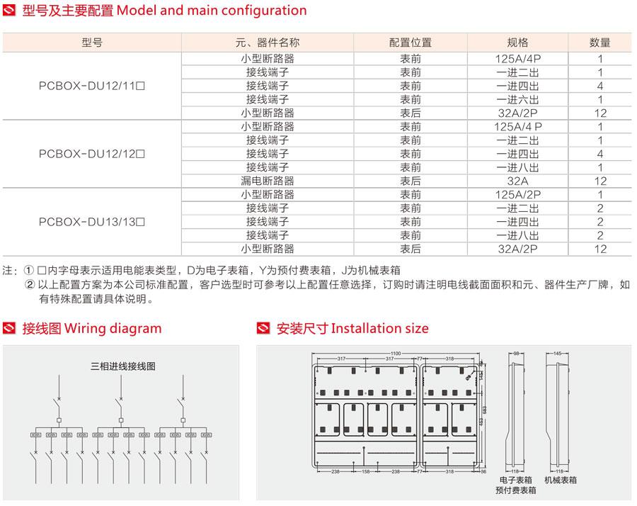单相十二表位电表箱的型号及主要配置,接线图,安装尺寸
