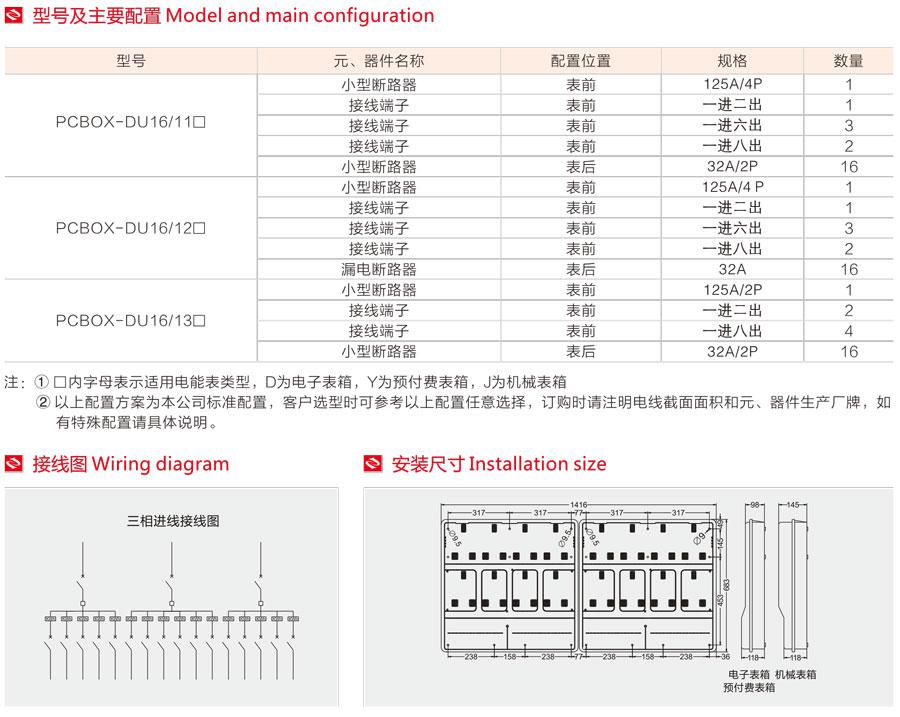 单相十六表位电表箱的型号及主要配置,接线图,安装尺寸