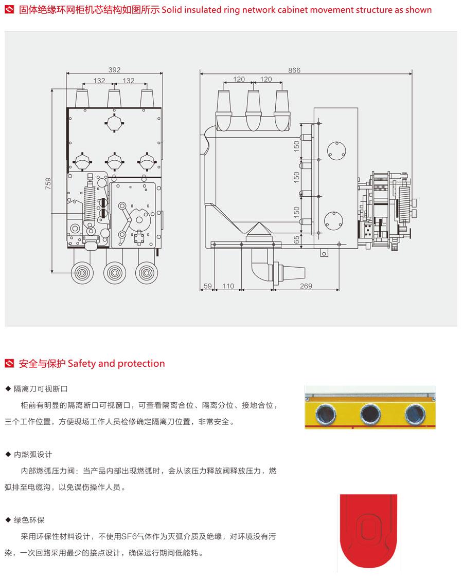 固體絕緣環網柜機芯結構圖、安全與保護