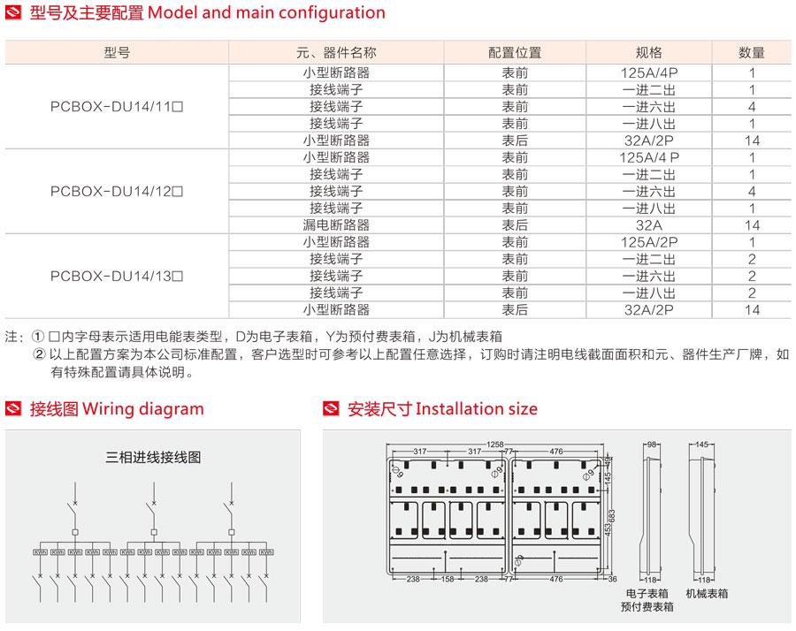 單相十四表位電表箱的型號及主要配置,接線圖,安裝尺寸