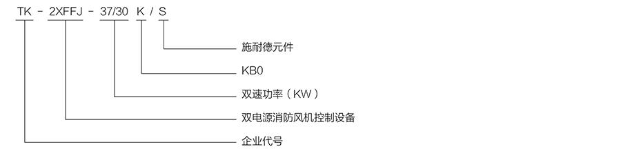 TK-2XFFJ防排煙風機、雙電源控制箱/單速產品型號含義