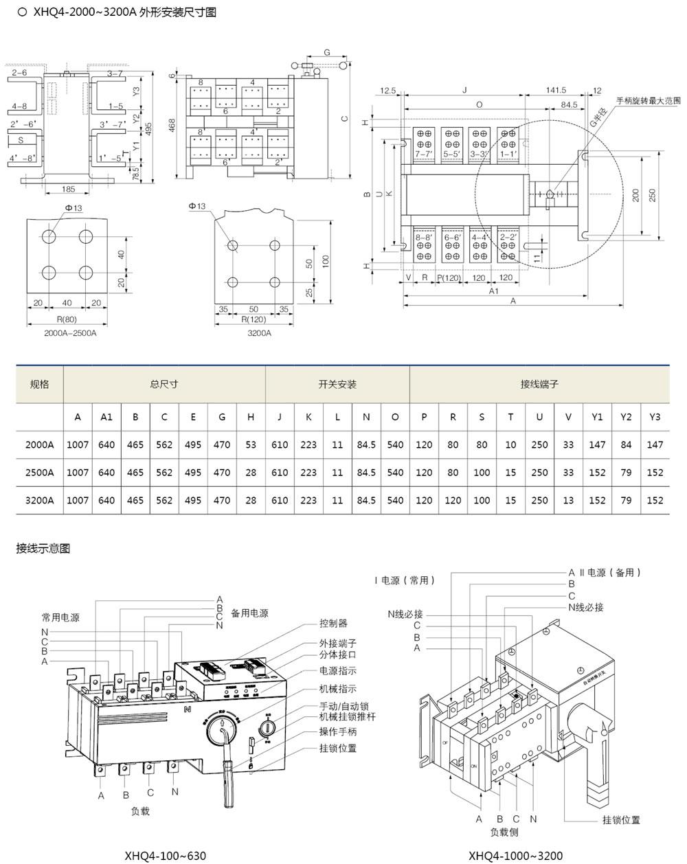 XHQ4雙電源自動轉換開關(隔離型)外形及安裝尺寸2