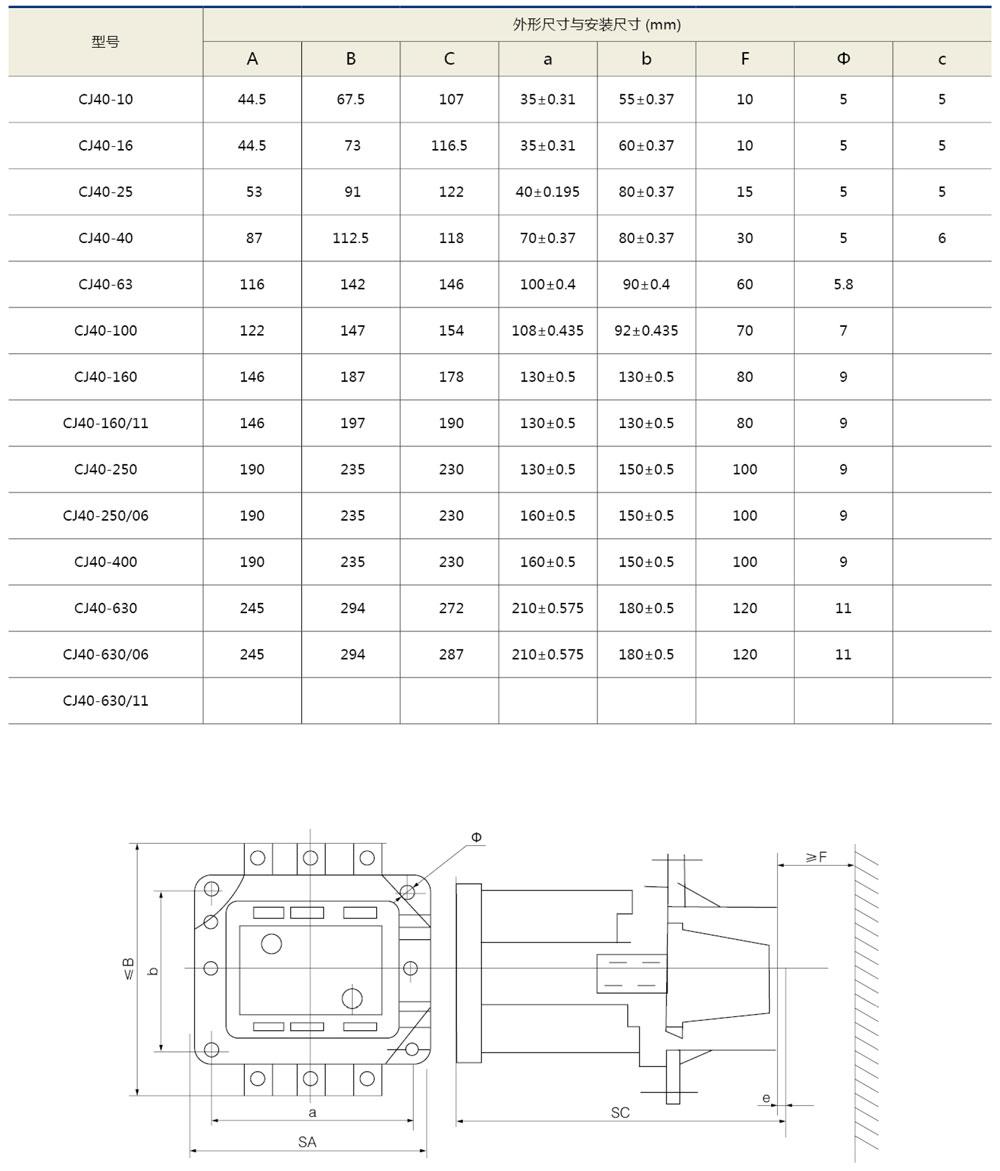 CJ40交流接觸器外形及安裝尺寸