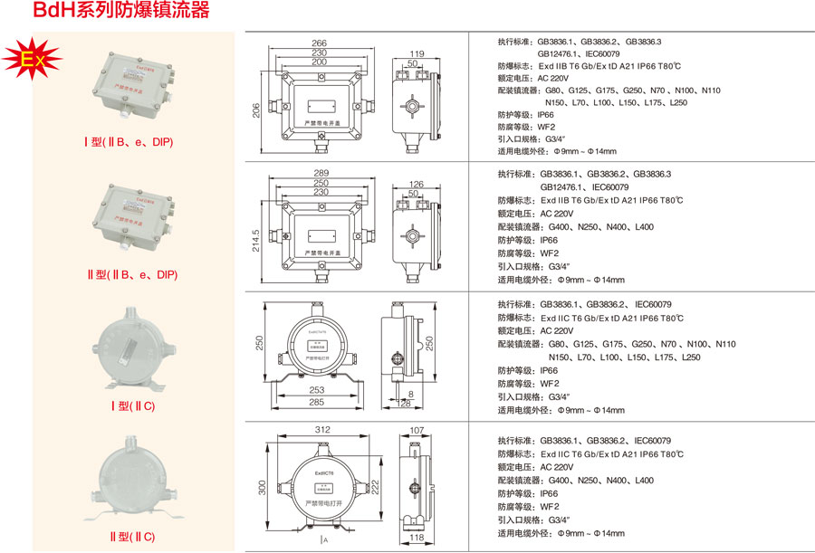 BdH系列防爆镇流器不同型号对应的参数