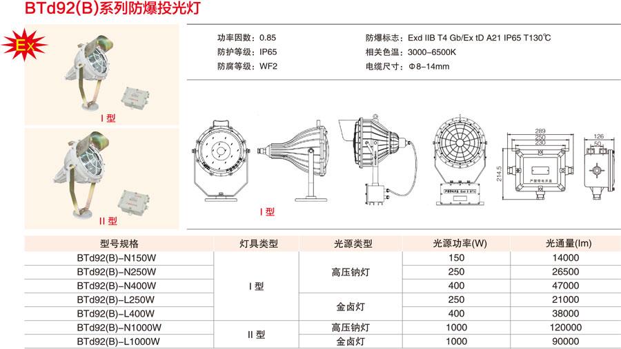 BTd92(B)系列防爆投光燈不同型號對應的參數