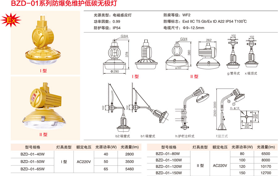 BZD-01系列防爆免維護低碳無極燈產品尺寸及對應的參數值