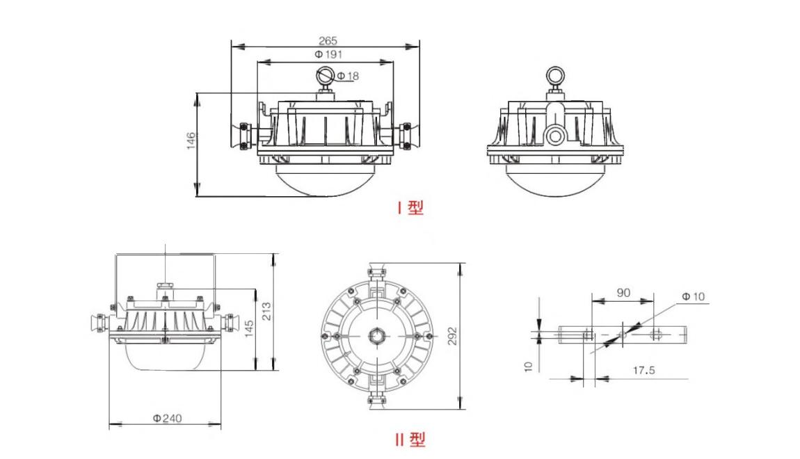 DGS18/24/30/36/45/48/ 50/51/52/60/127L(A) 系列礦用隔爆型LED巷道燈外形及安裝尺寸