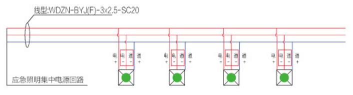 A型应急照明灯具接线示意图——应急照明灯