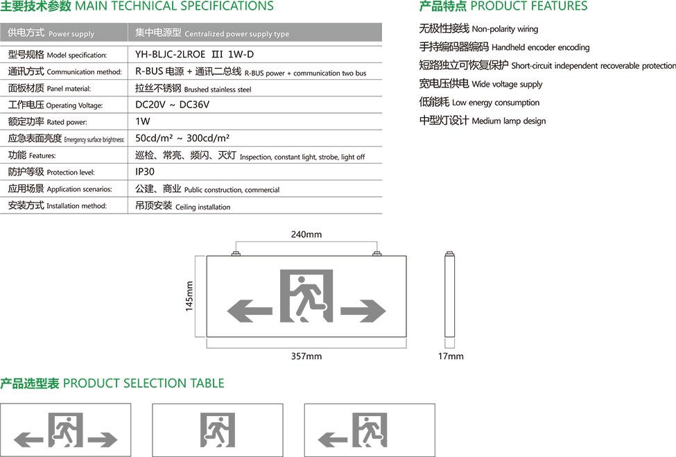 集中电源集中控制型应急疏散标志灯具-4主要技术参数、产品特点、安装示意图及产品选型表。
