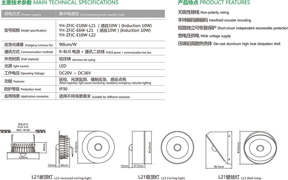 集中电源集中控制型应急照明灯具主要技术参数、产品特点、产品安装尺寸。