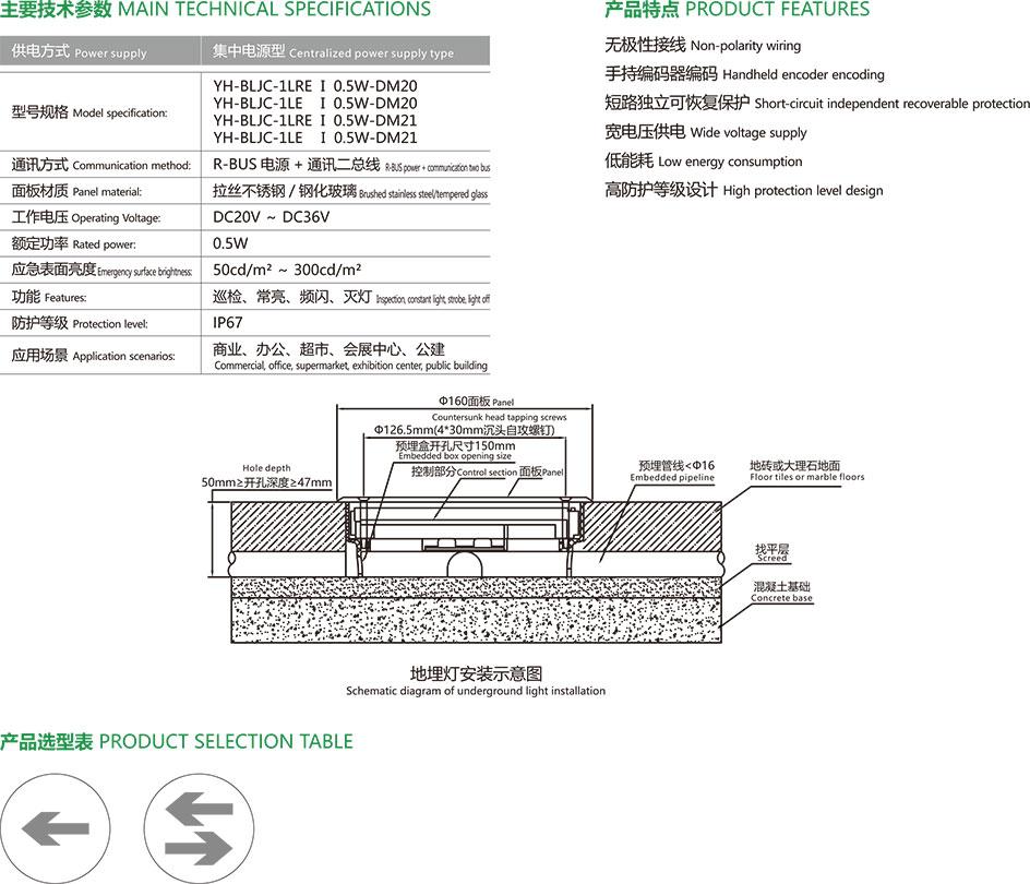 集中电源集中控制型应急疏散标志灯具地面标志灯-3主要技术参数、产品特点、地埋灯安装示意图及产品选型表。