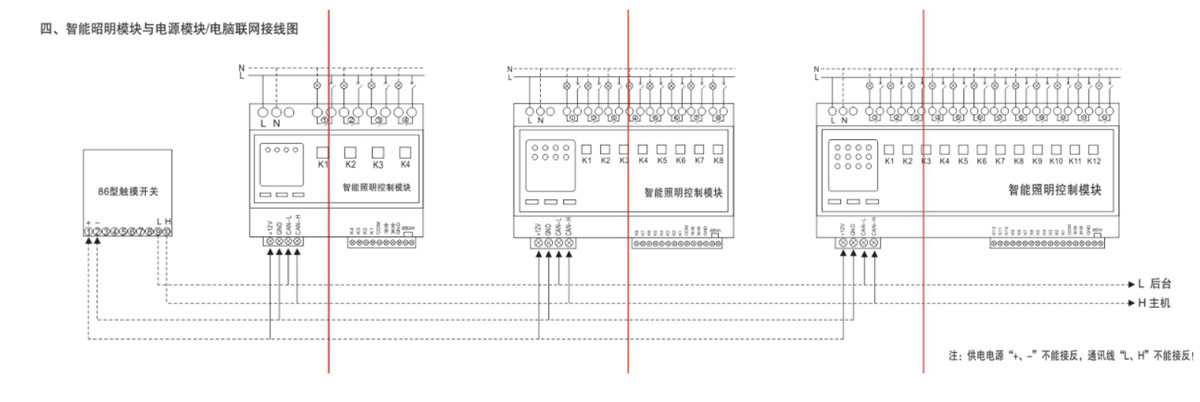 智能照明模块与电源模版/电脑联网接线图