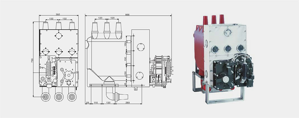 固体绝緣环网柜机芯结构如图示
