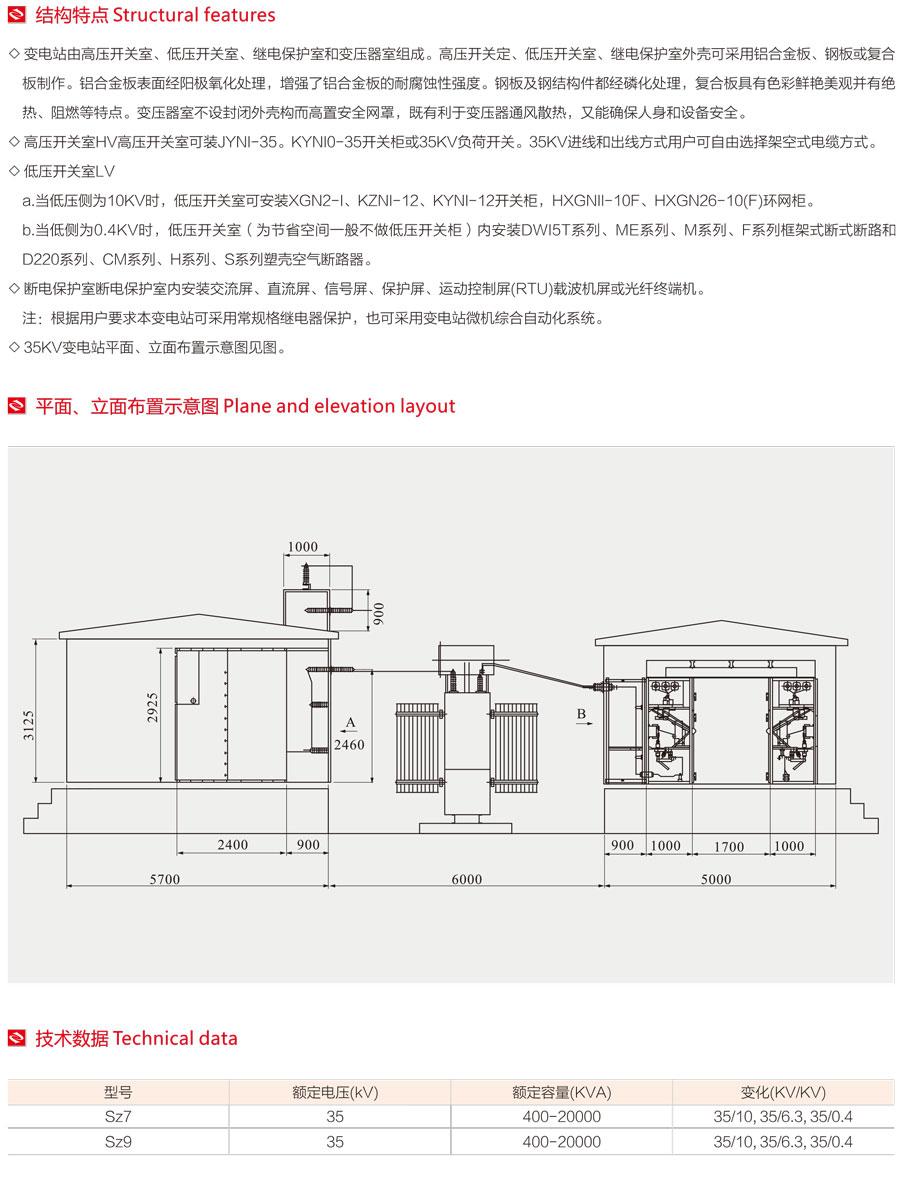 YBW-35環保型組合式變電站平面、立面布局設置圖