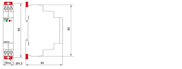 脉冲继电器外形安装及尺寸