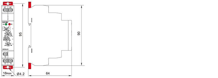 电压监控继电器外形安装及尺寸