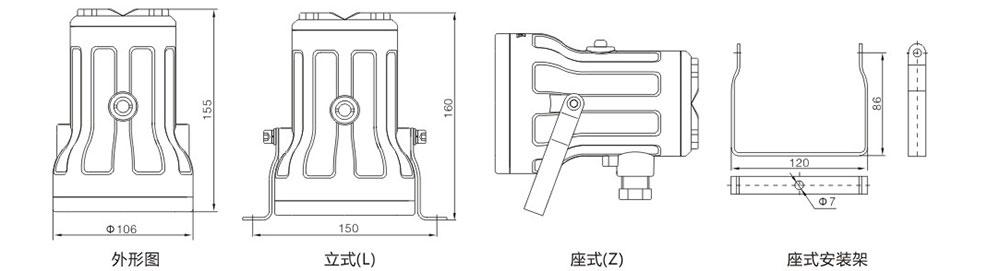 CBS98LED防爆视孔灯外形及安装尺寸