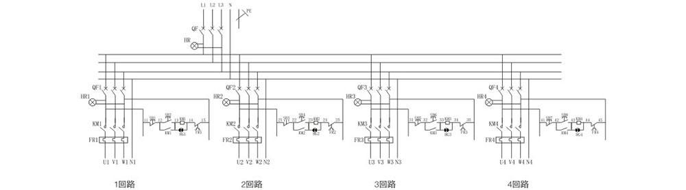 粉塵防爆動力(電磁起動)配電箱電氣原理圖示意