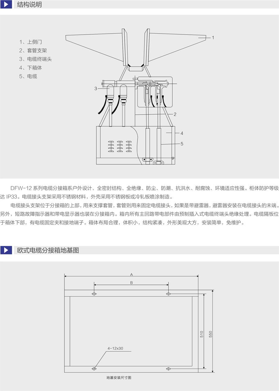 DFW歐式電纜分接箱結構說明