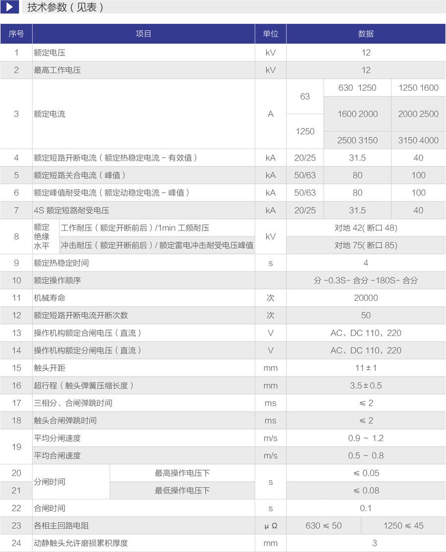 ZN63(VS1)-12戶內高壓固定式真空斷路器技術參數表