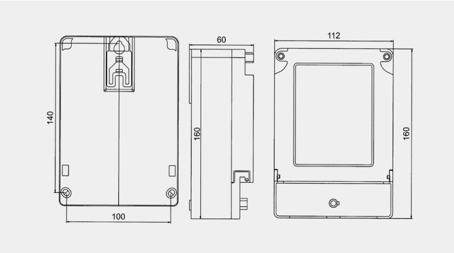 DDSF2057係列單相電子式多費率電能表外形及安裝尺寸