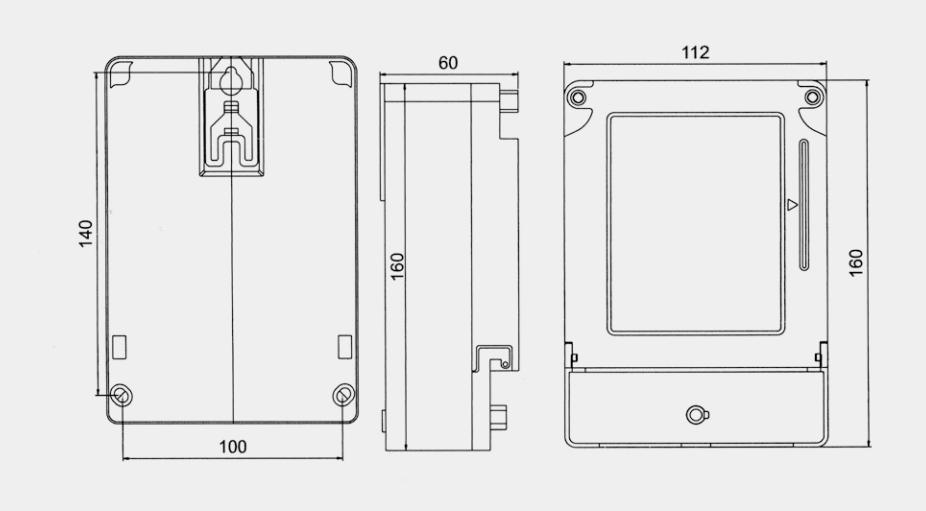 DDSY2057單相電子式 RS485 型預付費電能表(階梯電價式)外形及安裝尺寸