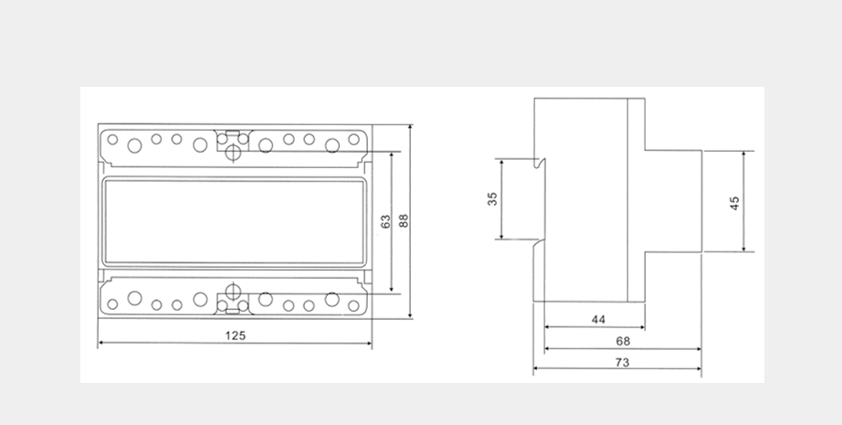 DSSU2057、DTSU2057三相電子式導軌電能表外形及安裝尺寸