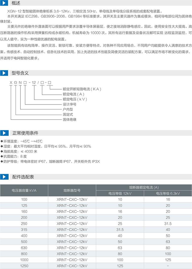 XGN-12型智能固體絕緣柜型號含義及配件選配表