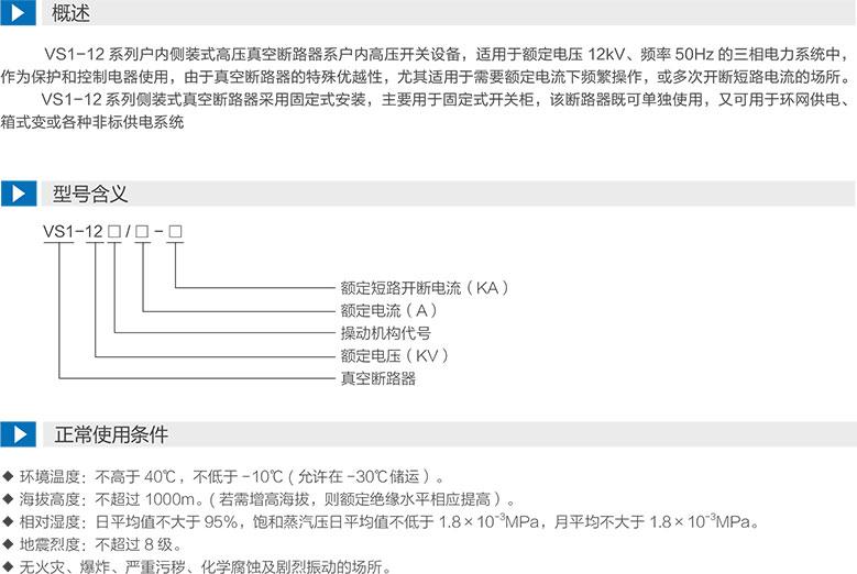 VS1-12係列戶內側裝式高壓真空斷路器型號含義