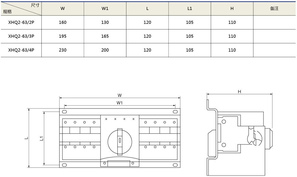 XHQ2雙電源自動轉換開關(迷你型)外形及安裝尺寸